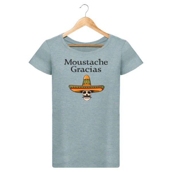 T-shirt  Moustache Gracias  - Pour Femme