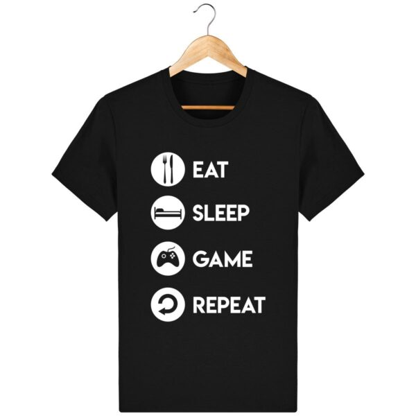 Tee Shirt Eat Sleep Game Repeat - Pour Homme